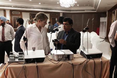 W&H Account Manager Anna Kluth with Dr. Mahesh Verma, Director and Principal of Maulana Azad Dental College, showing the innovative features of the new Implantmed and Piezomed at Delhi / Photo: @ W&H/Planmeca