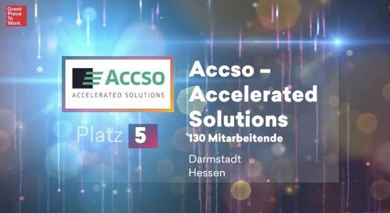 Screenshot der Online-Preisverleihung von Great Place to Work®. Accso - Accelerated Solutions erreicht Platz 5 der besten Arbeitgeber der ITK.