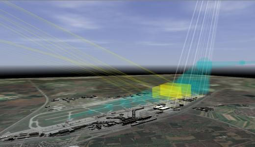 Eine neuartige Software errechnet, wo und wann geplante Photovoltaikanlagen blenden können; hier für die Region rund um den Frankfurter Flughafen