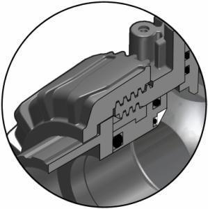 """Kugelhahn mit durchdachten Details: der gesicherte Dichtungsträger mit dem patentierten Kugelsitz mit """"Seat Stop"""" Funktion des VK Dualblock"""