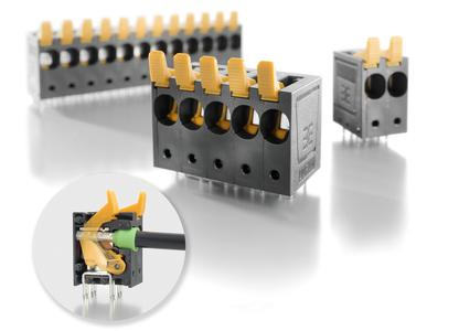 "Weidmüller OMNIMATE Power: The Weidmüller LUF 10.00 PCB Terminal with PUSH-IN connection provides secure, efficient device connection for power / Detail: The innovative ""Connection Safety Concept"" contact system securely connects conductors up to 16 mm2"