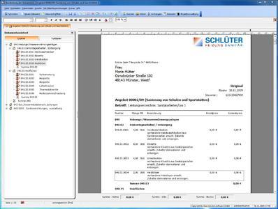 """Mit der aktuellen Version 5.2 von """"blue:solution TopKontor"""" erhalten Handwerksbetriebe ein modernes und leistungsfähiges Programm. Das Programm eignet sich für alle Baunebengewerke. Zahlreiche Erweiterungen wie eine schnelle Datenbank, Online-Preis- und Materialaktualisierungen, die Nachkalkulation und flexible prozentuale Zu- und Abschläge sind neu. Das Bild zeigt eine weitere neue Funktion: im """"Dokumente-Explorer"""" wird ein Angebot aus einem GAEB-Dokument erstellt. Der Aufbau des GAEB-Dokuments ist dabei links dargestellt."""