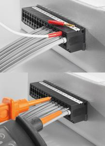 Weidmüller OMNIMATE Durchführungsklemme PGK 4: Der integrierte Prüfabgriff ermöglicht es, dass der Service das Potenzial sicher abgreifen kann – mit Prüfstecker oder Tester