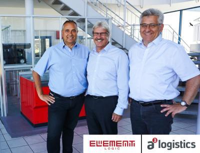 Von links nach rechts: Armin Gesslein von Element Logic, Hans-Jörg Braumüller und Manfred Schleicher von a³logistics im Showroom der Element Logic Germany GmbH