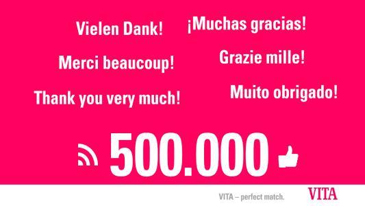 Die Facebook-Seite der VITA Zahnfabrik feiert 500.000 Likes