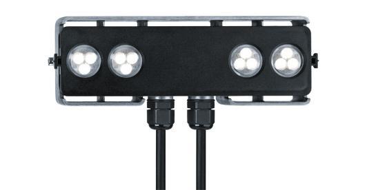 Der kompakte LED-Strahler Elevo für die ideale Betonung von Fassadenelementen und Flächen