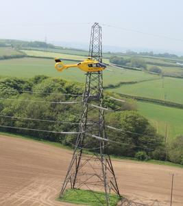 EC135 P1 in flight © Copyright Western Power Distribution