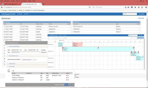 Das Managementsystem PeakTMS stellt alle relevanten Informationen aus dem Versuchsumfeld über ein webbasiertes Dashboard und personalisierte Gadgets zur Verfügung: Beispielsweise den aktuellen Status von Versuchsanfragen, die geplante Belegung von Versuchsressourcen sowie die Ergebnisse eines Versuchs / Bildquelle: Peak Solution