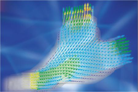 Das Geschwindigkeitsfeld der optimierten Strömung mit TOSCA Fluid: Durch die gleichmäßige Farbverteilung und einheitliche Ausrichtung der Pfeile werden die guten Strömungseigenschaften erkennbar