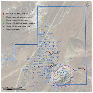 Figure 1. Location of new holes at Mother Lode Project, Nevada