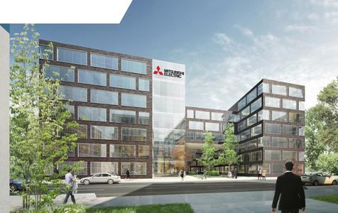 Entwurf des neuen Bürogebäudes von Mitsubishi Electric in Ratingen