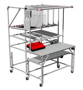 Packarbeitstisch aus dem GRAPHIT®-Rohrklemmsystem. Bildquelle: Trilogiq