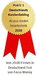 Focus Money hat iKratos als Kundenliebling Nr. 1 in der Kategorie Solartechnik ausgezeichnet