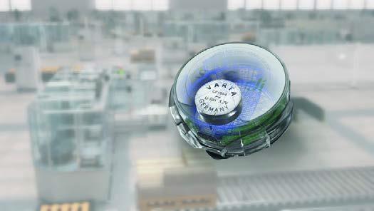 Der neuartige Abstandswarner SAFEDI bezieht seine Energie zuverlässig von einer wiederaufladbaren Lithium-Ionen Batterie aus der CoinPower-Serie, Foto: VARTA Microbattery GmbH
