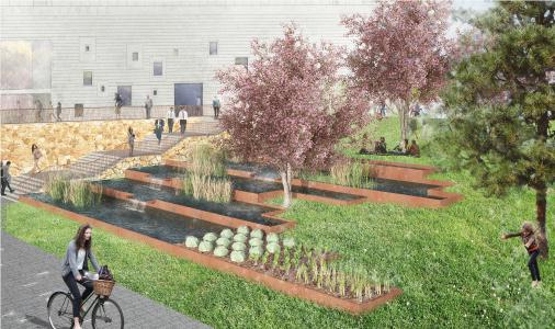 The aquaponics concept was planned as a cascade system using the run-off water from the living wall and the green roofs. It is harvested, biologically purified, enriched in the fish zone and then used once again. Source: glaßer & dagenbach