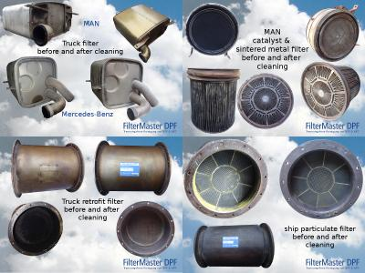Various particulate filters before and after cleaning with FilterMaster