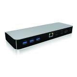 The DockingStation ICY BOX IB-DK2501-TB3 expands the connectivity of your notebook via a single Thunderbolt™ 3 port to HDMI®, card reader, USB ports