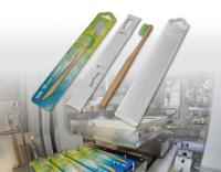 ILLIG's HSU 35b flexible packaging system is suitable for sustainable blister packaging made of solid cardboard with inlay for product fixation.