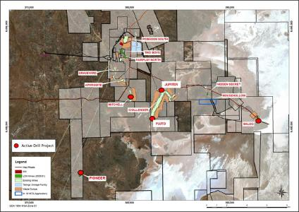 Plan view of active HGO mines and exploration projects