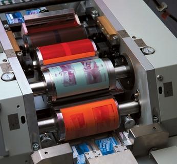 Druckwerk der OC 200: Rasterwalze mit Farbkasten, Farbübertragwalze, Plattenzylinder, Gummituchzylinder