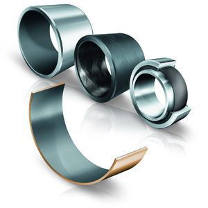 INA-Gleitlager mit verschiedenen Gleitschichten: Gleitlager mit ELGOGLIDE, Gleitlager mit ELGOTEX, Gelenklager mit ELGOGLIDE, Metall-Polymer-Verbundgleitlager (Bronzehalbschale), Foto: Schaeffler