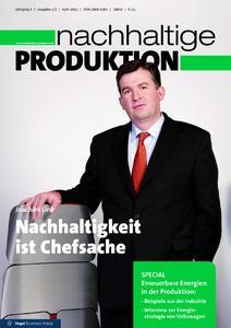"""Titelseite des Fachmagazins """"nachhaltige PRODUKTION"""" Ausgabe 1/2 2012"""