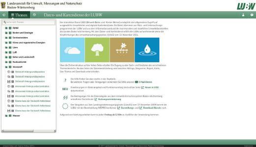 Startseite des Daten- und Kartendiensts Umwelt-Daten und -Karten Online (UDO) der Landesanstalt für Umwelt, Messungen und Naturschutz Baden-Württemberg (LUBW). Im Themenbaum (links) werden die neuen Stickstoffkarten angezeigt