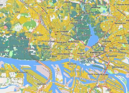Einkommensverteilung auf Ebene der Baublöcke Beispiel Hamburg Dunkelgrün bedeutet Kaufkraft bei 90  der Haushalte in oberen Klassen (Copyright infas 360 GmbH)