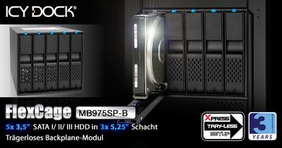 "ICY DOCK FlexCage MB975SP-B Trägerloses 5x3,5"" SATA HDD Hot Swap Backplane-Modul"