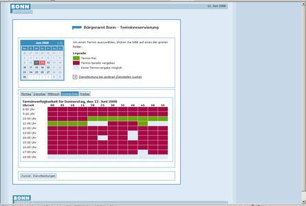 Kalenderansicht zur Online-Terminreservierung beim Bürgeramt Bonn