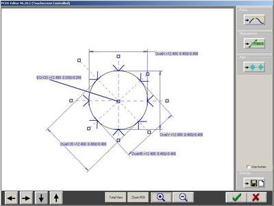 Das Ovalitätsmodul zeigt den Umfang des Schlauches und Durchmesser in mehreren Achsen.