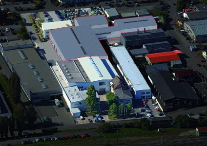 Planungsanimation: Der rot umrandete Bereich zeigt die geplanten neuen Logistik- und Fertigungshallen der HERBOLD Meckesheim GmbH, (Grafik: HERBOLD)