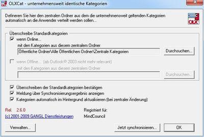 Zentrale Outlook©-Kategorienverwaltung
