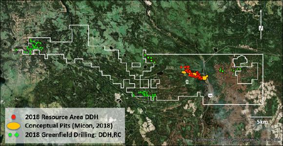 Distribution of Resource Area and greenfield drill-hole locations, including shallow top-of-bedrock RC drilling