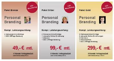Drei SEO-Personal-Branding-Pakete von ABAKUS Intenert Marketing