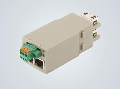 The Han-Modular Switch US4 is standardly available as a double module / The green terminal connections are used to supply the module