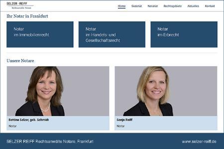 Internetseite der Sozietät SELZER REIFF Rechtsanwälte Notare, Frankfurt.