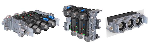 The MPC in straight or right-angled versions, and as a receptacle, each with three modules. Up to five poles can be combined in a row, up to three rows can be stacked