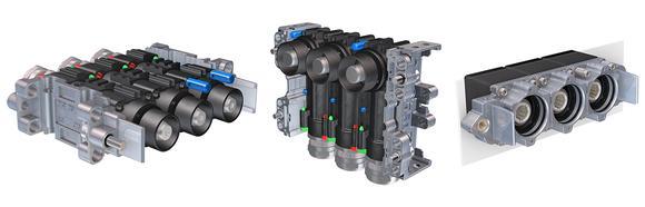 Der Modular Power Connector (MPC) als gerade und abgewinkelte Version sowie als Einbaudose, jeweils mit drei Modulen. Bis zu fünf Pole können in einer Reihe kombiniert werden, bis zu drei Reihen sind stapelbar