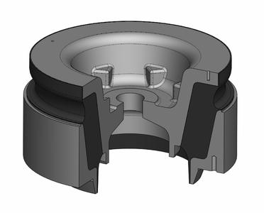 The conical bearing from ContiTech Vibration Control can withstand loads of up to 150 kN / Photo: ContiTech