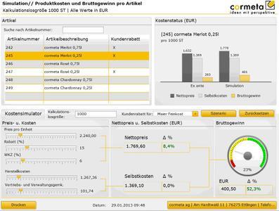 """Geschäftsanalyse leicht gemacht: In SAP Business Objects werden Informationen grafisch übersichtlich dargestellt. Weil alle Daten verknüpft und gleich verarbeitet werden können, sind auch zeitnahe """"What if""""-Szenarien möglich, wie diese Simulation zeigt"""