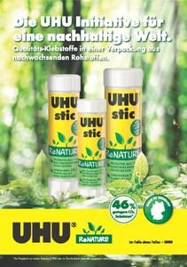 The first glue stick in a plant-based container! - UHU stic ReNATURE glue stick with a container made of bio-based materials from the TECNARO (Photo: UHU GmbH & Co. KG)