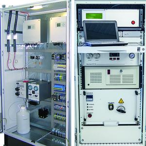 AFRISO gas analysis systems are available on mounting plates, completely pre-assembled with all wiring and hosing, in vehicles, in measuring cabinets or as measuring stations in containers. The system components are also available as individual products (Photograph: AFRISO)
