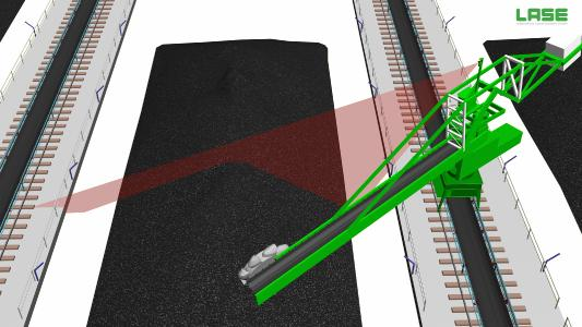 LaseBVH - Measuring principle of heap/pile profile and volume measurement (© LASE)
