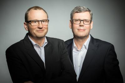 Die Geschäftsführer der SelectLine Software GmbH freuen sich auf das Firmenjubiläum (Rainer Kuhn links im Bild und Andreas Scharff rechts im Bild)