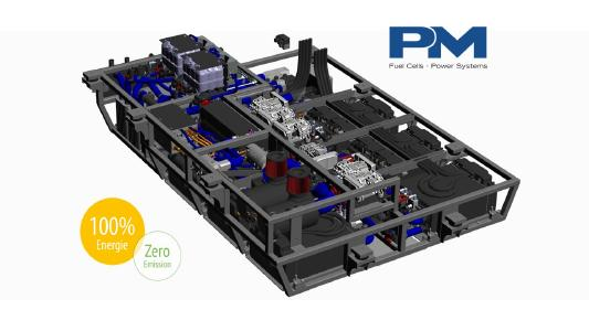 The Proton Motor hydrogen fuel cell system with 214 kW is installed in the underfloor area of the rail milling machine.