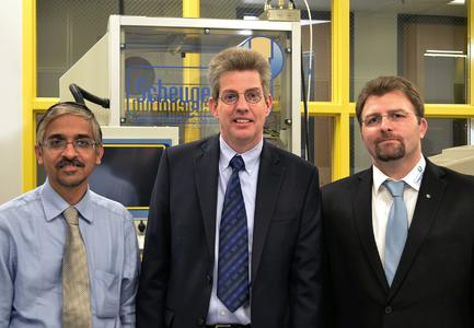 Scheugenpflug @ Georgia Tech: Dr. Venky Sundaram, Assoc. Director, PRC Industry Programs, Dr. Oliver Brand, Executive Director of the IEN, Christian Geier, General Manager Scheugenpflug USA