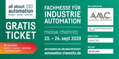 AMC ist bei der all about automation chemnitz 2020 dabei