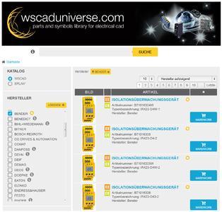 Produkte können schnell und einfach gefunden werden und ihre Artikeldaten im WSCAD- oder EPLAN*-Format kostenlos heruntergeladen werden