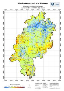 Windkarte Hessen 140m / Foto: TÜV SÜD